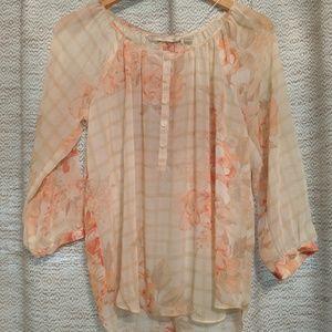 Lauren Conrad Sheer Half Button Blouse Size Small
